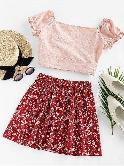 affordable ZAFUL Tied Floral Print Two Piece Dress - LAVA RED XL Mobile