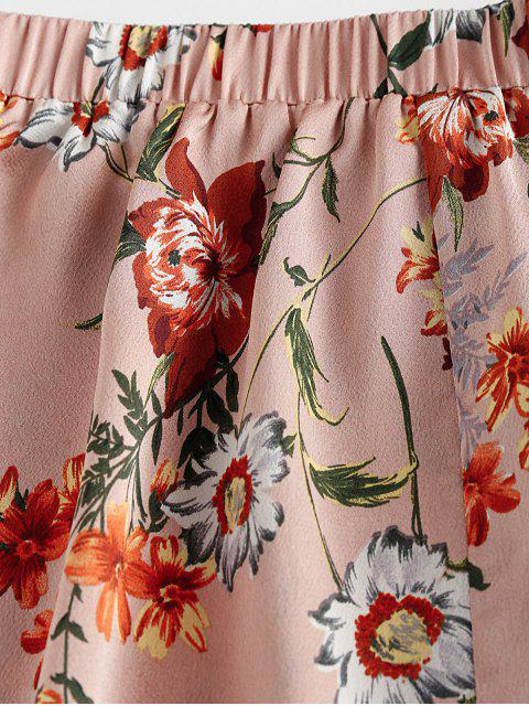 latest ZAFUL Smocked Strapless Floral Print Two Piece Set - ROSE XL Mobile