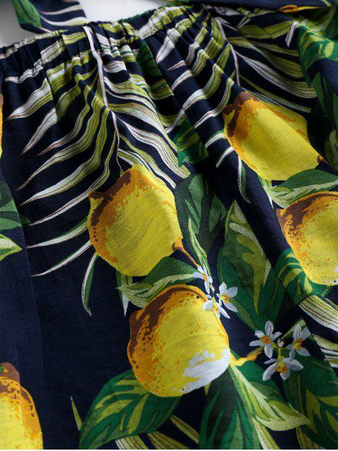 online ZAFUL Halter Leaf Lemon Print Co Ord Set - CADETBLUE S Mobile