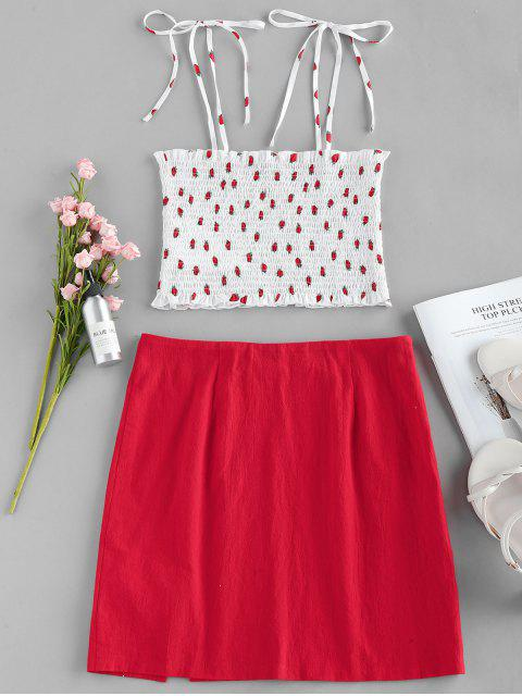 ZAFUL Strawberry Print Smocked Two Piece Dress - روبي الأحمر M Mobile