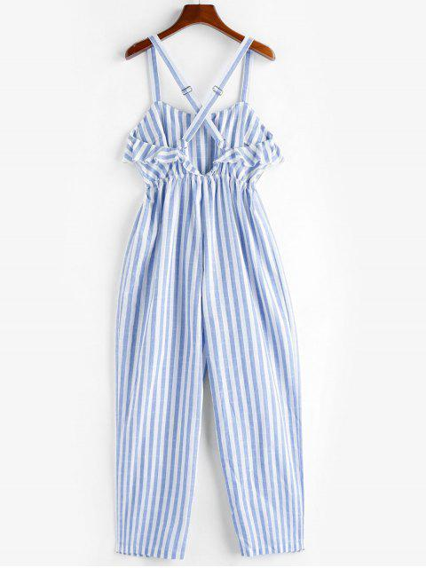 outfit ZAFUL Ruffle Crisscross Striped Jumpsuit - SEA BLUE L Mobile