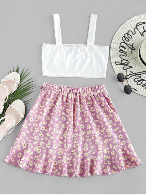 women's ZAFUL Ruffle Ditsy Print Two Piece Dress - MAUVE M Mobile