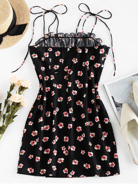 ZAFUL Bodycon Kleid mit Krawattenschulter und Blumendruck - Schwarz S Mobile