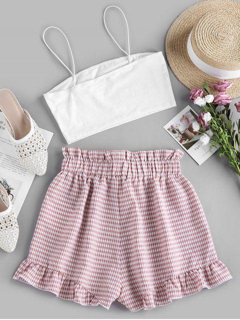 ZAFUL Kariertes Papiertüte Shorts Set - Rosa Rose M Mobile