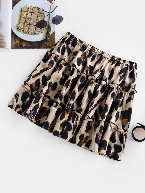 fashion ZAFUL Leopard Print Flounce Mini Skirt - LEOPARD M Mobile