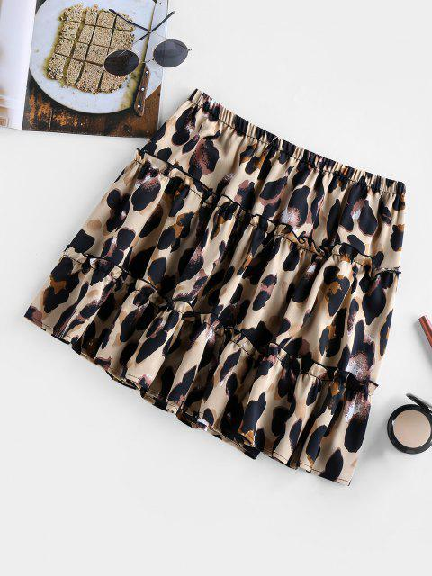 sale ZAFUL Leopard Print Flounce Mini Skirt - LEOPARD XL Mobile