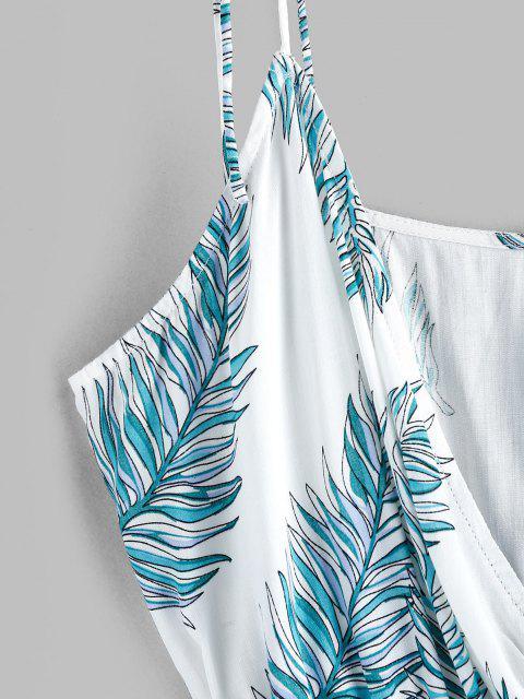 ladies ZAFUL Tie Shoulder Leaf Print Surplice Romper - MILK WHITE XL Mobile