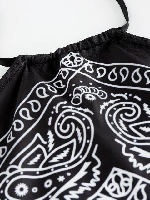 new ZAFUL Paisley Print Halter Scarf  Top - BLACK M Mobile