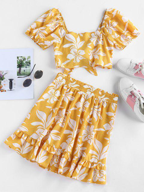 buy ZAFUL Floral Print Tied Flounce Two Piece Dress - BEE YELLOW S Mobile