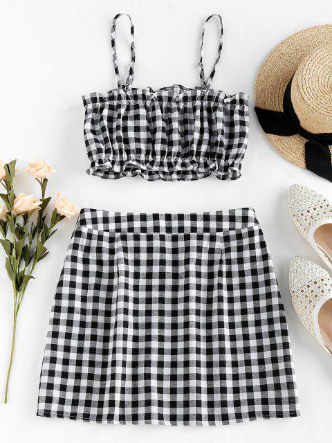 trendy ZAFUL Checked Ruffle Mini Two Piece Dress - BLACK M Mobile
