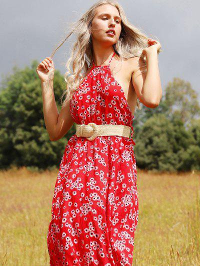 ZAFUL Backless Floral Print Slit Maxi Dress - Red Xl