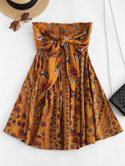 ZAFUL Floral Tie Front Smocked Tube Dress - Tiger Orange L