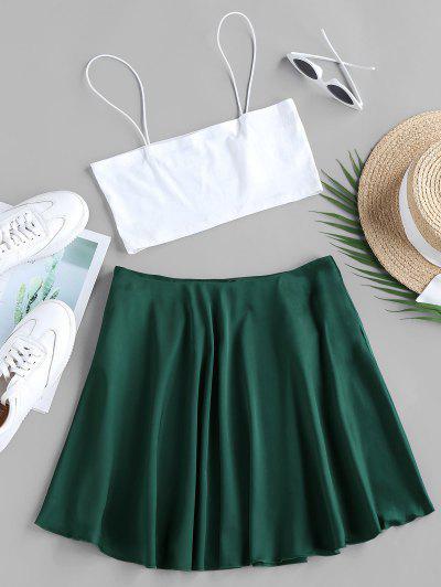 ZAFUL Crop Camisole And Mini A Line Skirt Set - Greenish Blue S