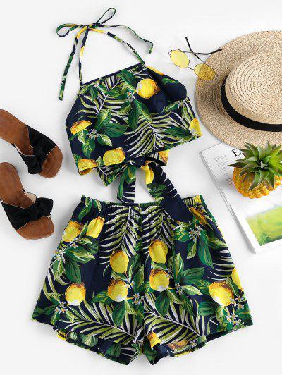 ZAFUL Halter Leaf Lemon Print Co Ord Set - Cadetblue M