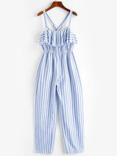 ZAFUL Ruffle Crisscross Striped Jumpsuit - Sea Blue M