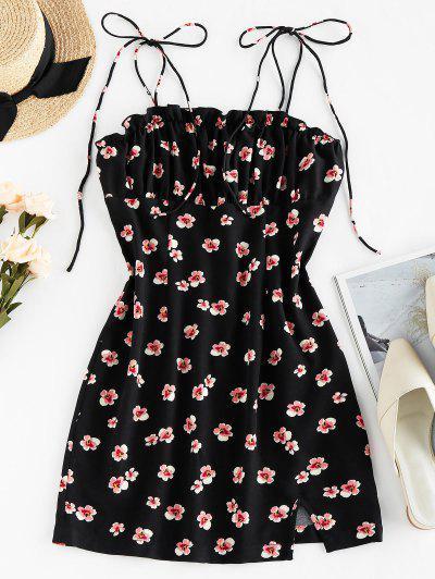 ZAFUL Floral Print Tie Shoulder Bodycon Dress - Black S