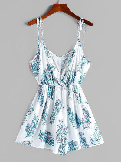 ZAFUL Tie Shoulder Leaf Print Surplice Romper - Milk White M