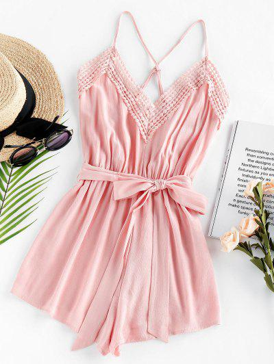 ZAFUL Crisscross Lace Trim Belted Romper - Light Pink L