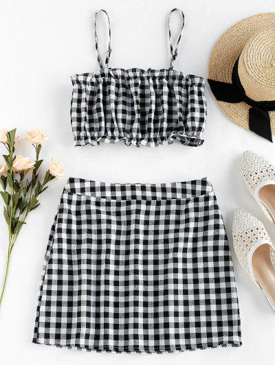 ZAFUL Checked Ruffle Mini Two Piece Dress - Black S