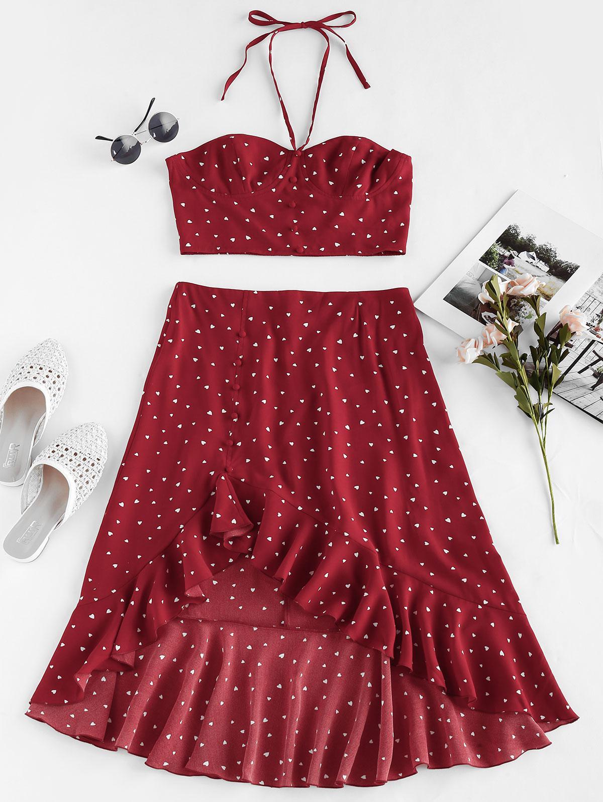 ZAFUL Heart Print Flounce High Low Two Piece Dress