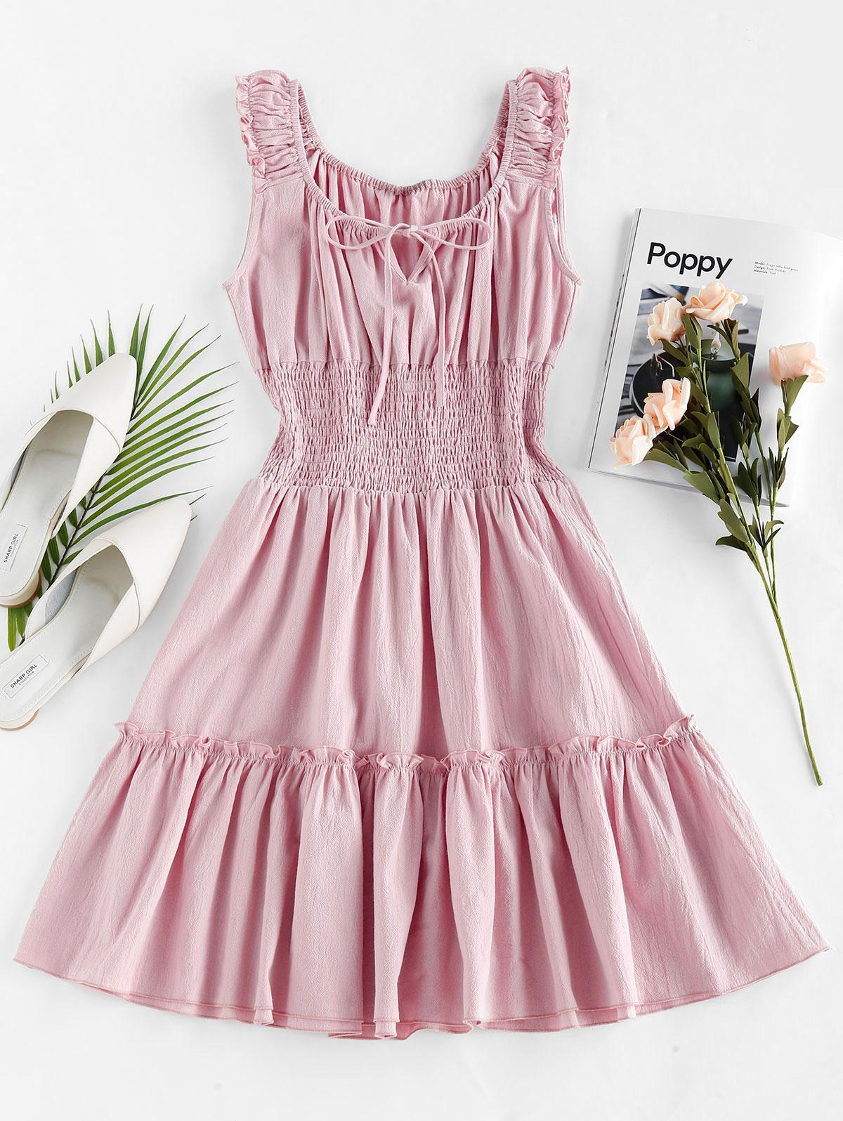 ZAFUL Smocked Ruched Mini A Line Dress