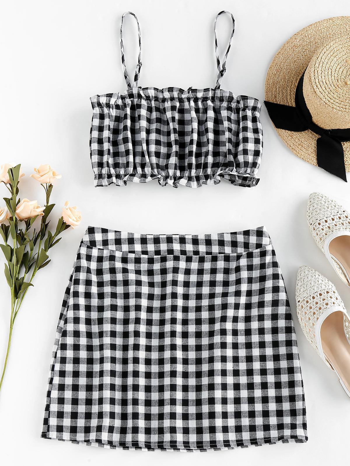 ZAFUL Checked Ruffle Mini Two Piece Dress