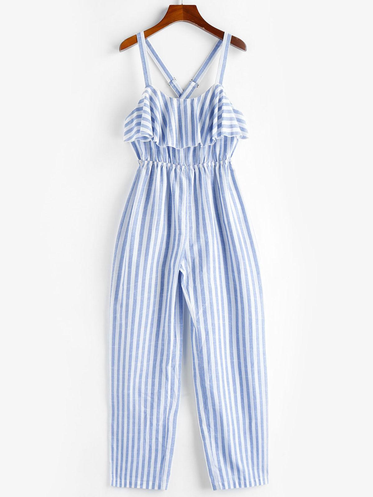 ZAFUL Ruffle Crisscross Striped Jumpsuit