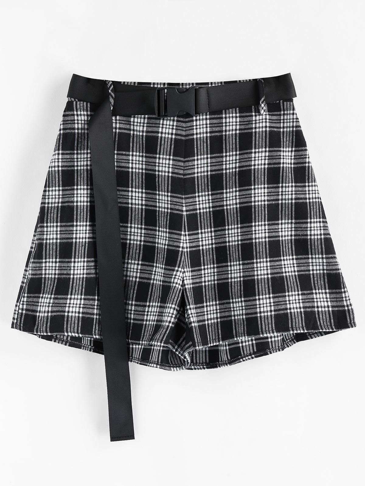 ZAFUL High Rise Belted Plaid Shorts