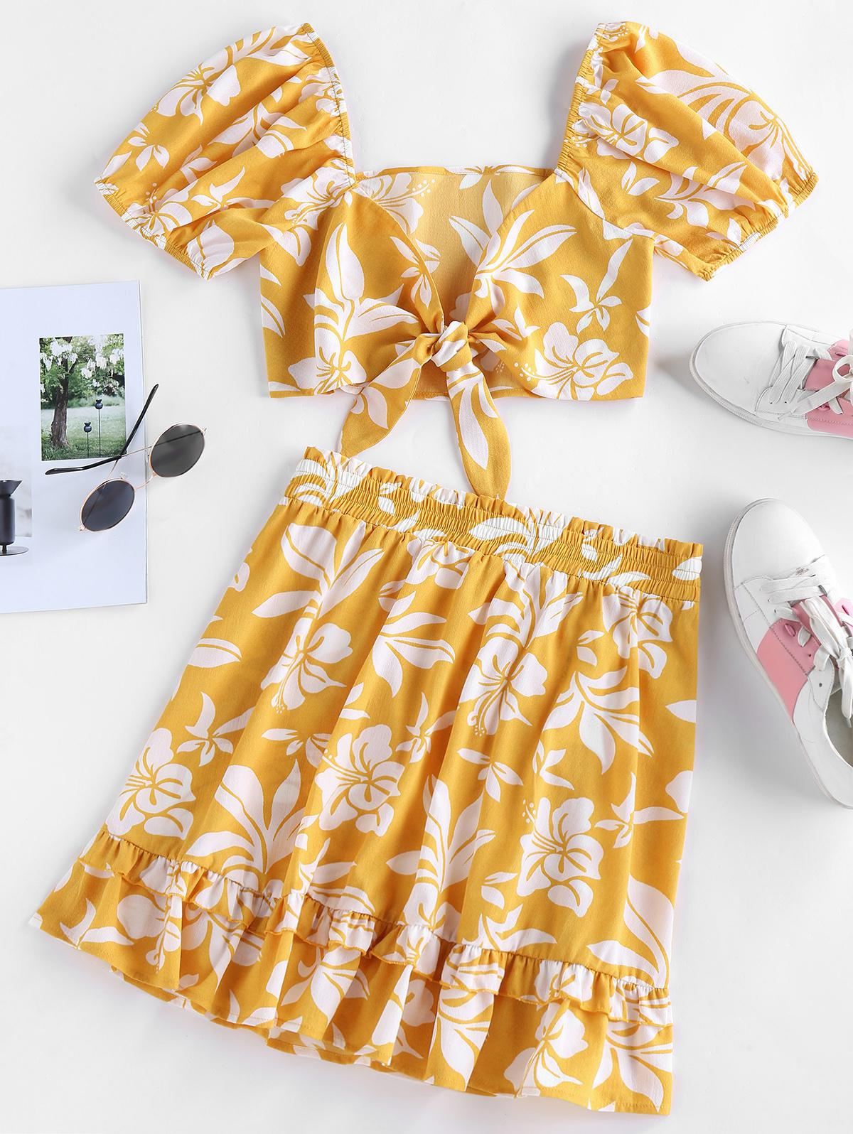 ZAFUL Floral Print Tied Flounce Two Piece Dress
