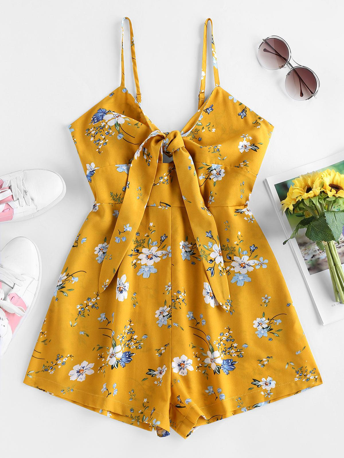 ZAFUL Floral Print Front Tie Romper