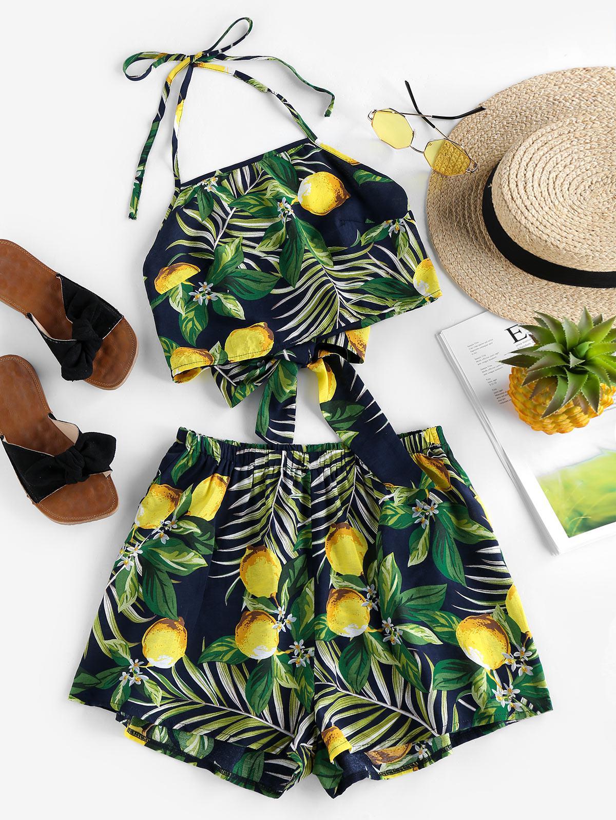 ZAFUL Halter Leaf Lemon Print Co Ord Set