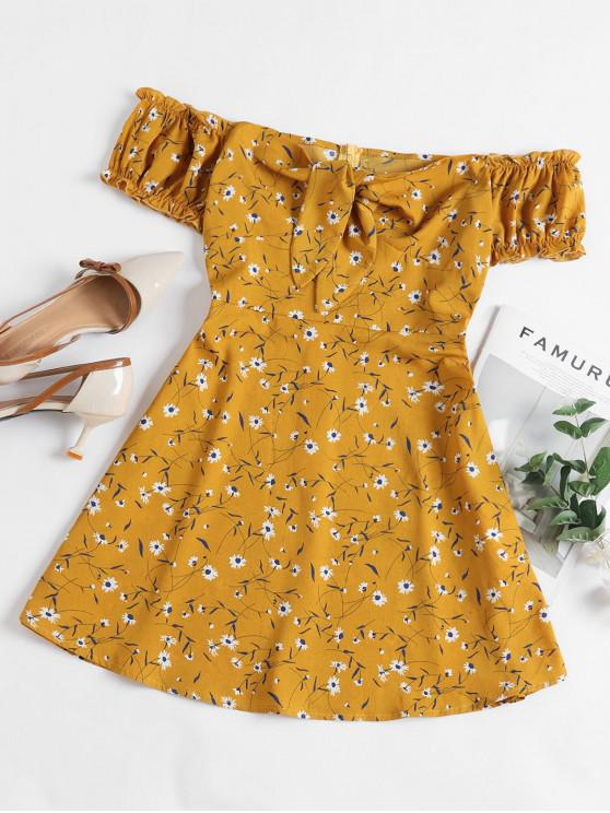 womens ZAFUL Floral Tied Ruffle Off Shoulder Mini Dress - BEE YELLOW M