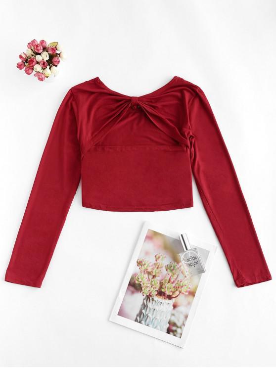 Înapoi Nodul Colaj Decupată T Shirt - Vin rosu XL