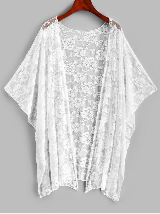 womens Batwing Sleeve Lace Beach Cover Up - WHITE ONE SIZE