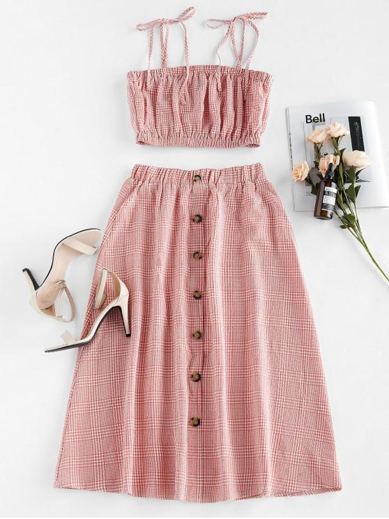 outfits ZAFUL Plaid Tie Shoulder Midi Two Piece Dress - PALE VIOLET RED S