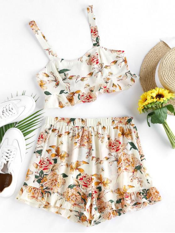 outfits ZAFUL Flounce Floral Print Two Piece Set - BLANCHED ALMOND S