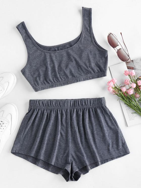 womens ZAFUL Tie Dye Crop Top and Shorts Set - BATTLESHIP GRAY L