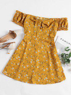 ZAFUL Mini-Robe Fleurie Nouée à Epaule Dénudée à Volants - Jaune D'abeille M