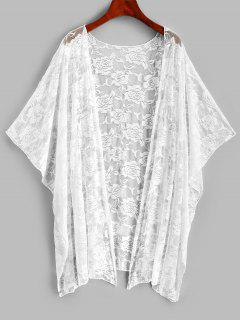 Batwing Sleeve Lace Beach Cover Up - White