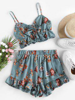 ZAFUL Floral Print Cinched Flounce Two Piece Set - Dark Turquoise Xl