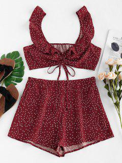 ZAFUL Ruched Cinched Polka Dot Shorts Set - Red Wine M