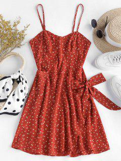 ZAFUL Front Tie Ditsy Print Cami Dress - Ruby Red S