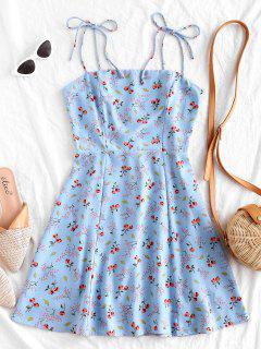 Tiny Floral Tie Strap Flare Dress - Powder Blue S