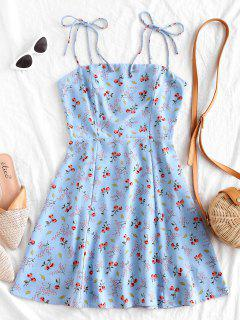 Tiny Floral Tie Strap Flare Dress - Powder Blue M
