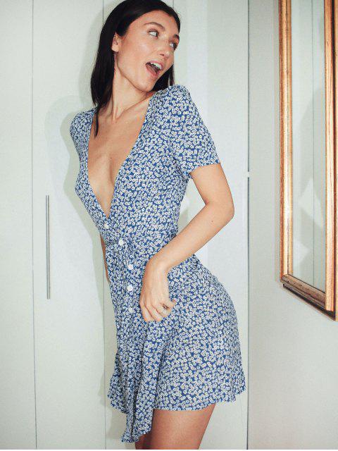fashion ZAFUL Ditsy Floral Surplice Mini Belted Dress - BLUE L Mobile