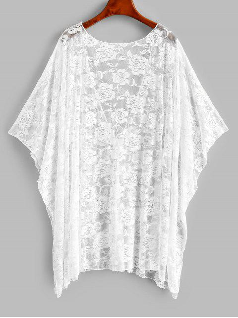 womens Batwing Sleeve Lace Beach Cover Up - WHITE ONE SIZE Mobile