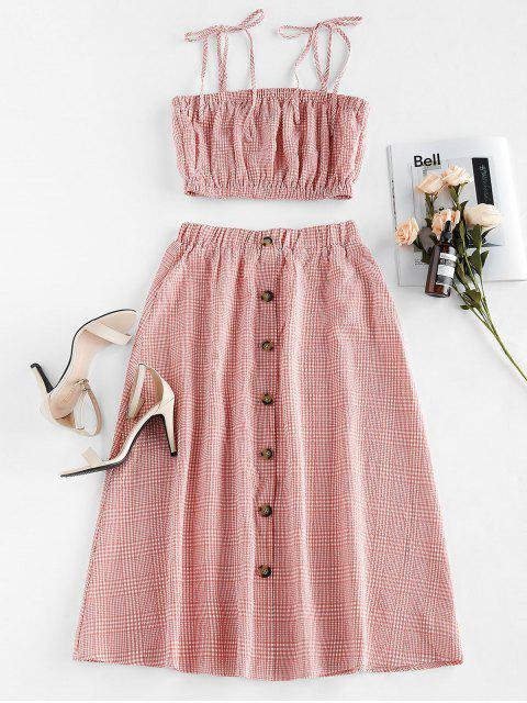 outfits ZAFUL Plaid Tie Shoulder Midi Two Piece Dress - PALE VIOLET RED S Mobile