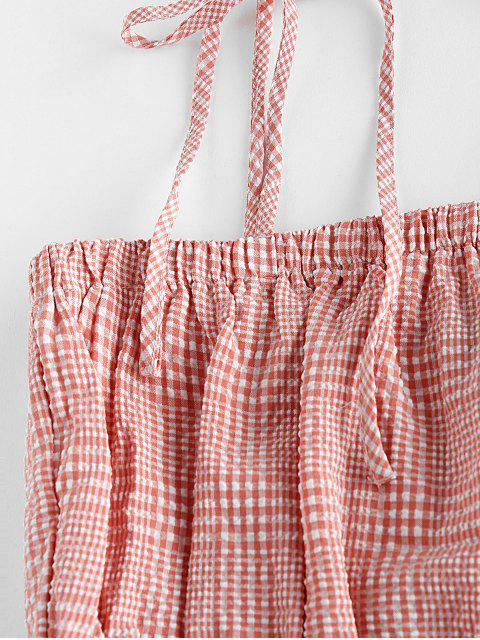 fancy ZAFUL Plaid Tie Shoulder Midi Two Piece Dress - PALE VIOLET RED XL Mobile