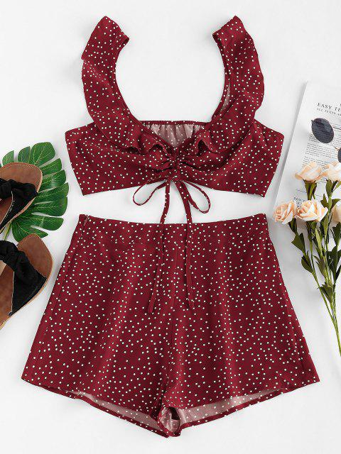 ZAFUL Ensemble de Short Plissé à Pois - Rouge Vineux XL Mobile
