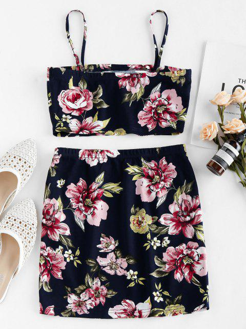 shops ZAFUL Floral Print Co Ord Set - MIDNIGHT BLUE S Mobile